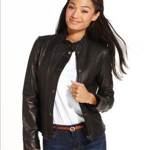 Tommy Hilfiger Black Leather Moto Jacket